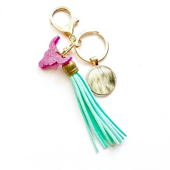Hide  Longhorn Bag Charm Keyring with Tassel rose gold bag
