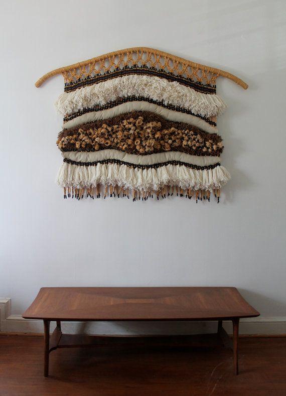 RESERVED: SALE Vintage Fiber Art Wall Hanging