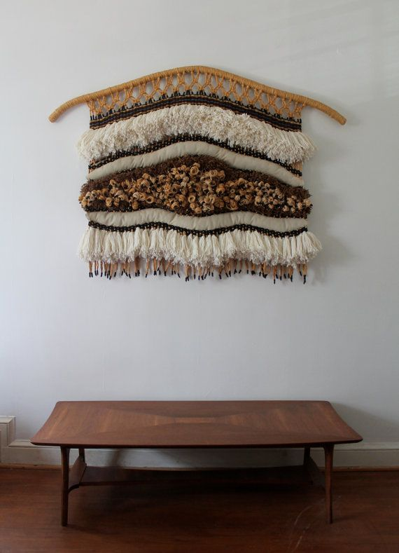 RESERVED: SALE Vintage Fiber Art Wall Hanging