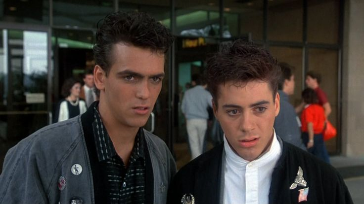 Robert Rusler and Robert Downey Jr. from Weird Science. Buttons on the jackets!