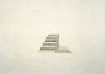 Toba Khedoori Whitechapel Art Gallery, London, Untitled (Stairs) [detail] 2000  Oil and wax on paper, 366 x 488 cm