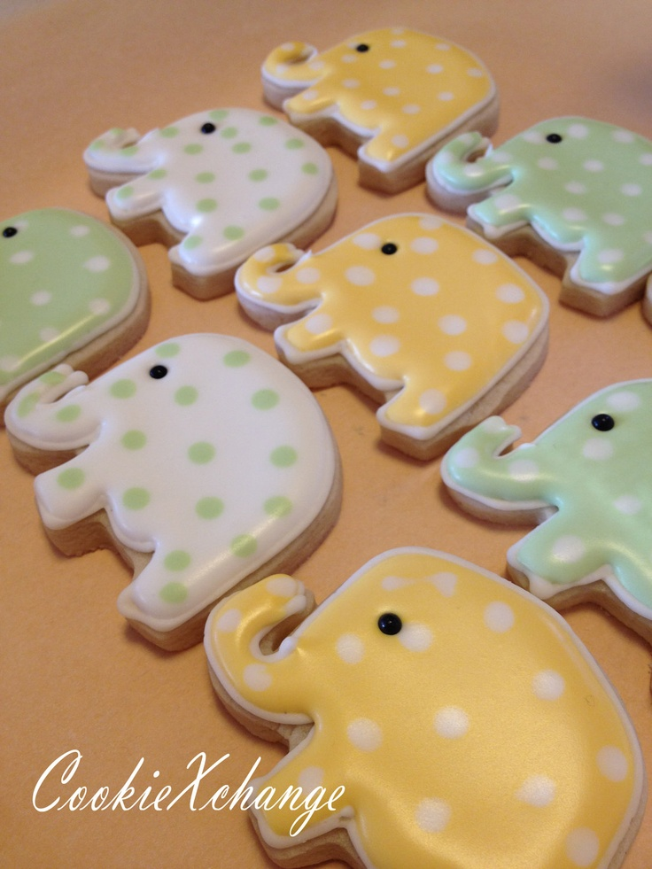 Elephant Cookies decorated birthday theme party or just because. $23.00, via Etsy.