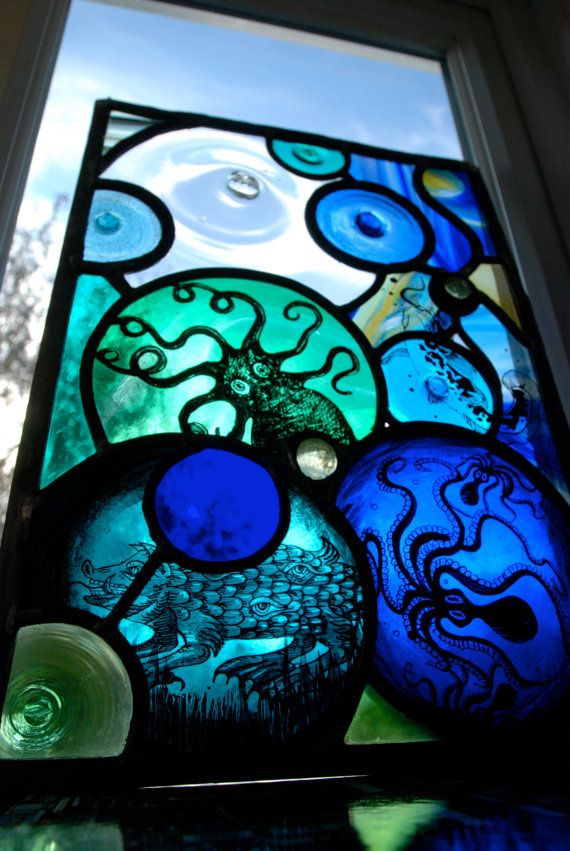 would  be cool in  a bathroom  Octopus's Garden Stained Glass Panel by HaltGlass on Etsy, $800.00
