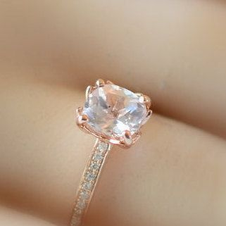 Semi mount gold ring, here in rose gold engagement ring, diamonds engagement ring JULIA, setting only