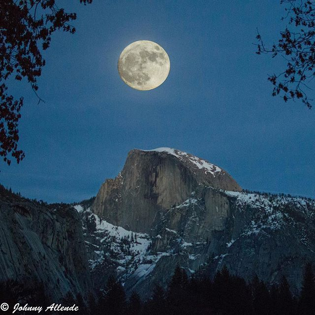 Moon over Half Dome at Yosemite