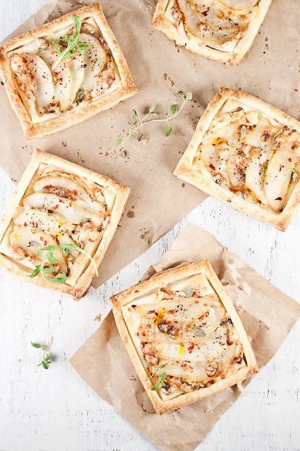 Pear and gorgonzola tarts