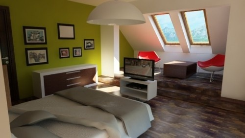 Attic/loft conversions can benefit from natural light added via skylights.: Modern, Accent Wall Design, Attic Conver, Design Ideas, Attic Rooms, Attic Bedrooms Design, Attic Ideas, Green Colors, Bedrooms Ideas