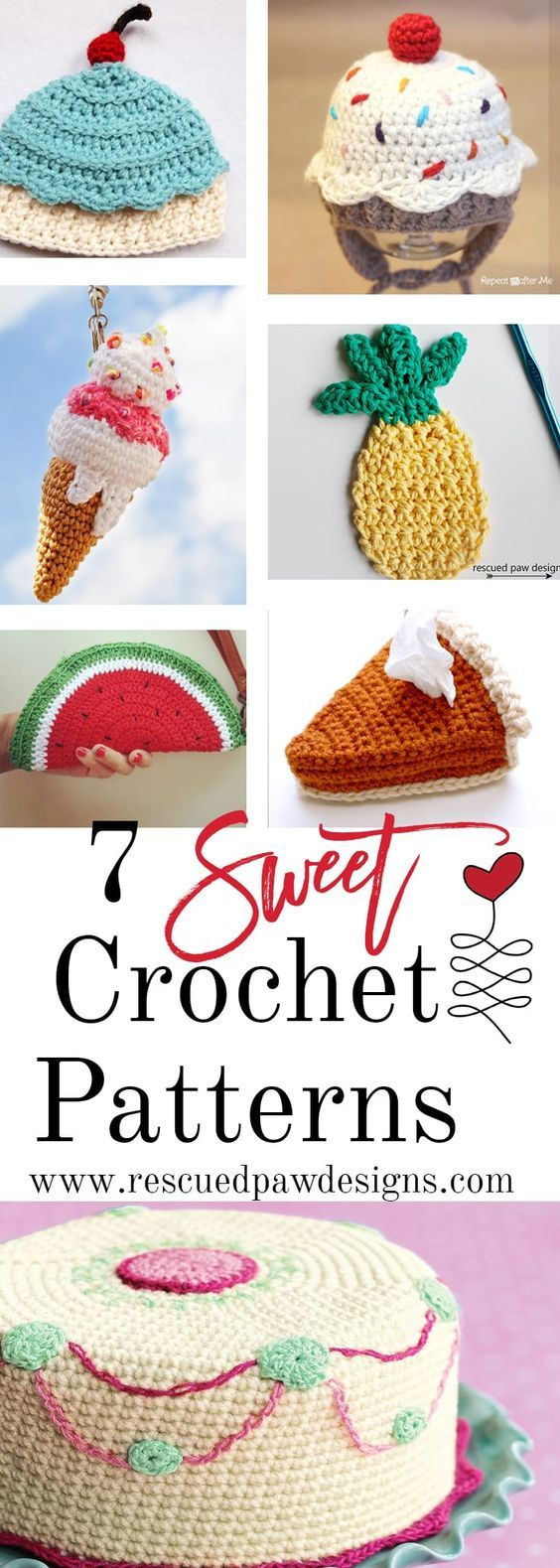 696 best crocheted food images on pinterest patterns animal and 7 sweet crochet patterns including crochet food patterns crochet cupcake hat patterns crochet pie patterns and much more compiled by rescued paw designs bankloansurffo Images