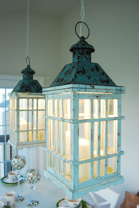 Dual Dining Room Lantern Chandelier Hanging Lights. Rustic Farm without Candles. on Etsy, $349.00 Geez, this is adorable.