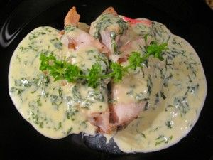Roast kingklip with basil cream sauce