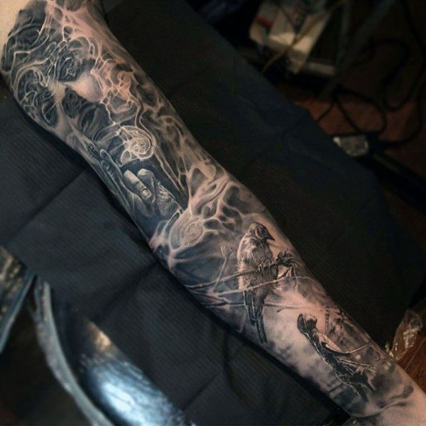 Cool Smoke Inner Forearm Male Tattoos