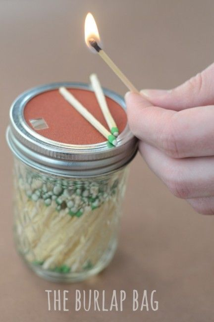 Store matches in mason jar add sandpaper to lid to strike matches for lighting