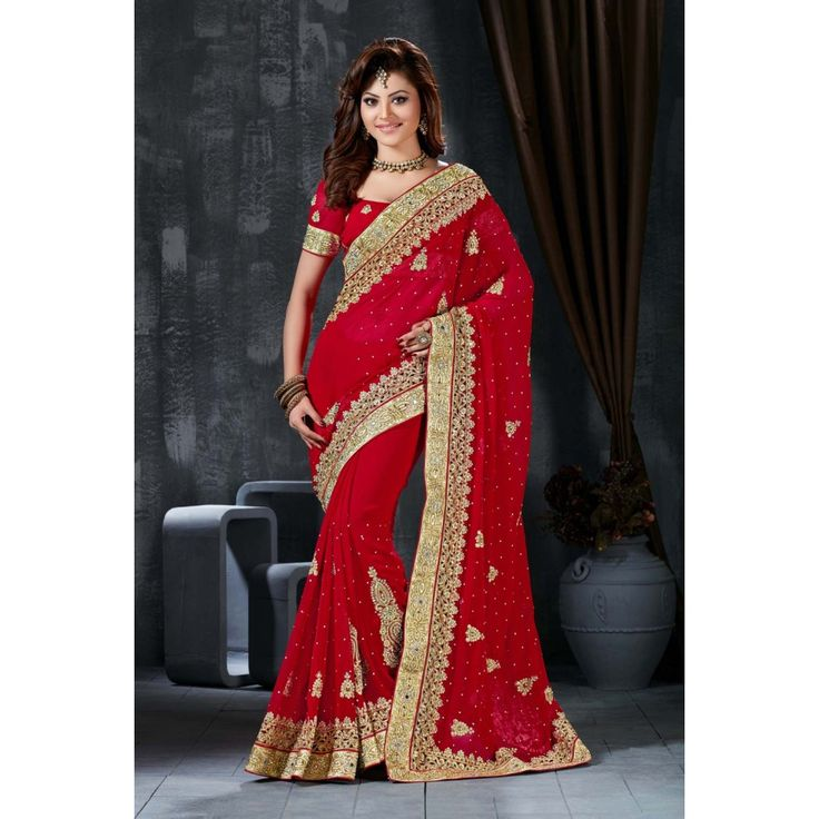 Urvashi Rautela Red Georgette #Saree With Blouse- $89.43