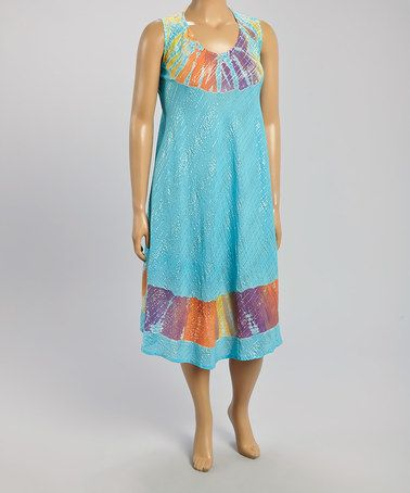 Loving this Turquoise & Red Tie-Dye Sleeveless Dress - Plus on #zulily! #zulilyfinds