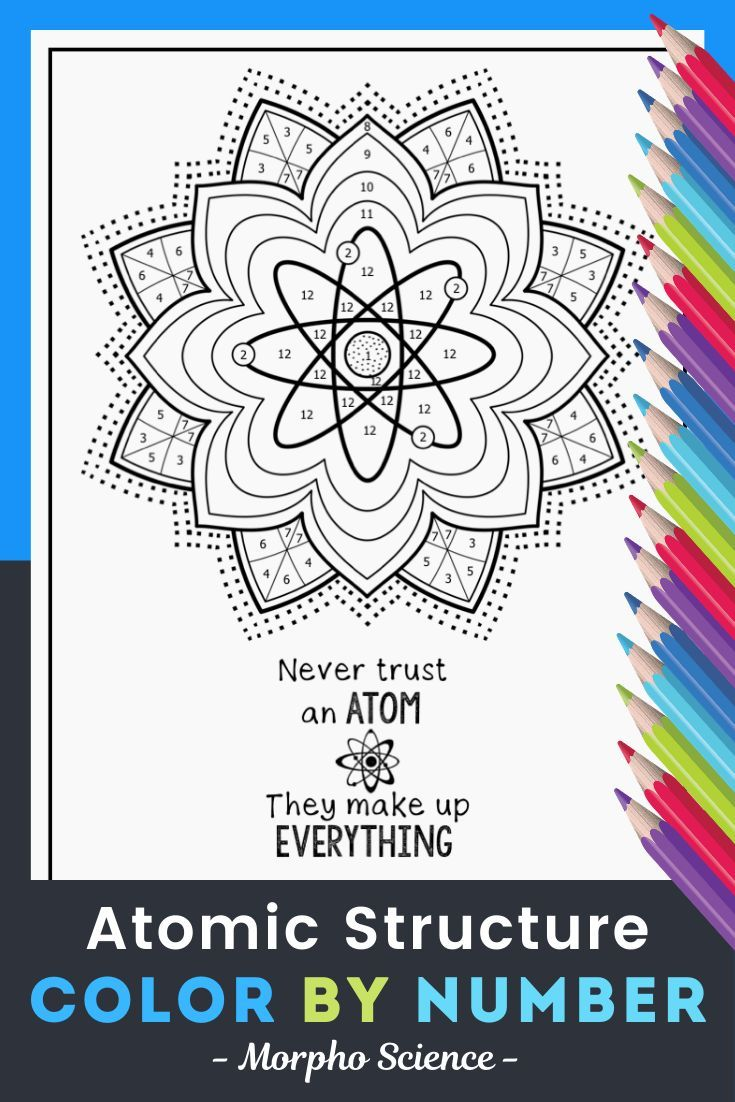 Atomic Structure Color By Number Science Color By Number Distance Learning Atomic Structure Mandala Coloring Pages Color