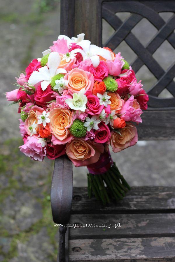bukiet ślubny, pomarańcz, amarant, róż