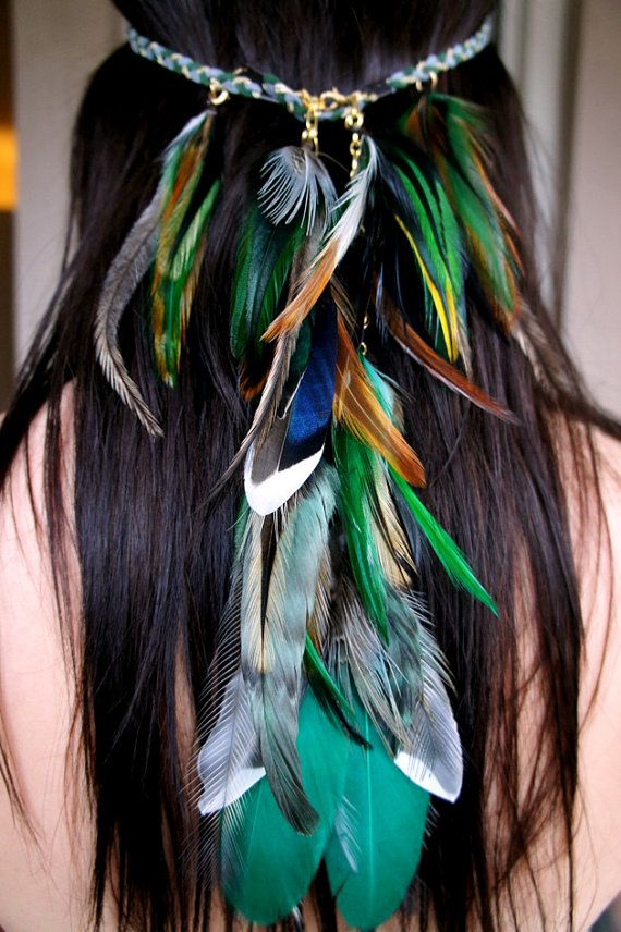 Deep Forest hippie feather headband by SANDRANJAfeathers on Etsy, kr1000.00