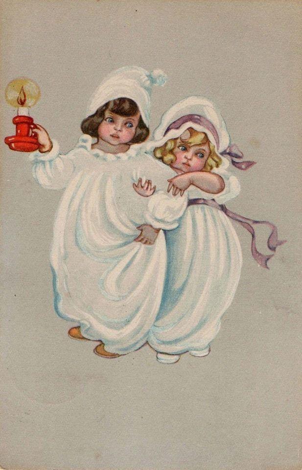 Старинные открытки спокойной ночи, рождественских открыток