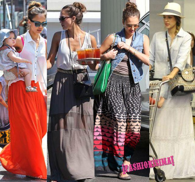 Atención: las celebrities se pasan a las maxi faldas estampadas