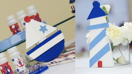 if you can't find a lighthouse or sailboat decor.. make one out of cardboard instead