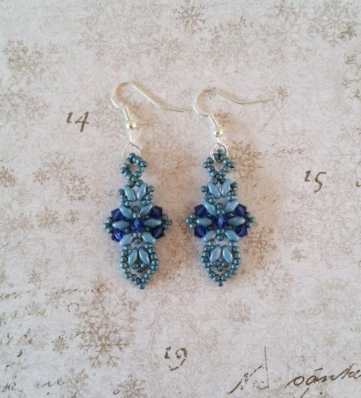 Blauen Kreuz Ohrringe dunkel blau Kreuz und von HoneyBeads1Official