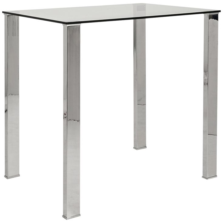 Beautiful Beth Stainless And Clear Glass Bar Table   Style # 2R009