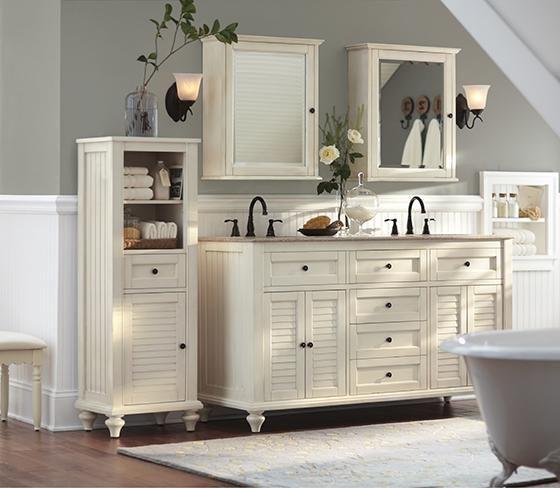 Hamilton shutter double vanity bath vanities bath - Double sinks in a small bathroom ...