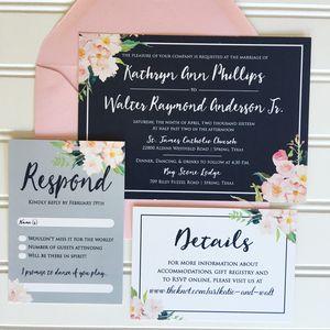 Navy & Blush Wedding Invitations, Elegant Wedding Invitations, Classic Wedding Invitations, Formal Wedding Invite, Unique Wedding Invitation, Custom Wedding Invites, Vintage Wedding Invitation