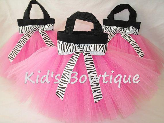 12 Zebra Diva Party Tutu Bags Diva Birthday Treat by kidsbowtique