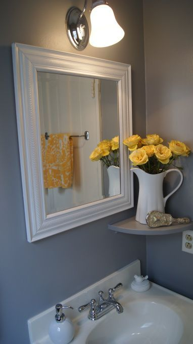Yellow and gray bathroom ideas powder room bathroom for Yellow bathroom decor