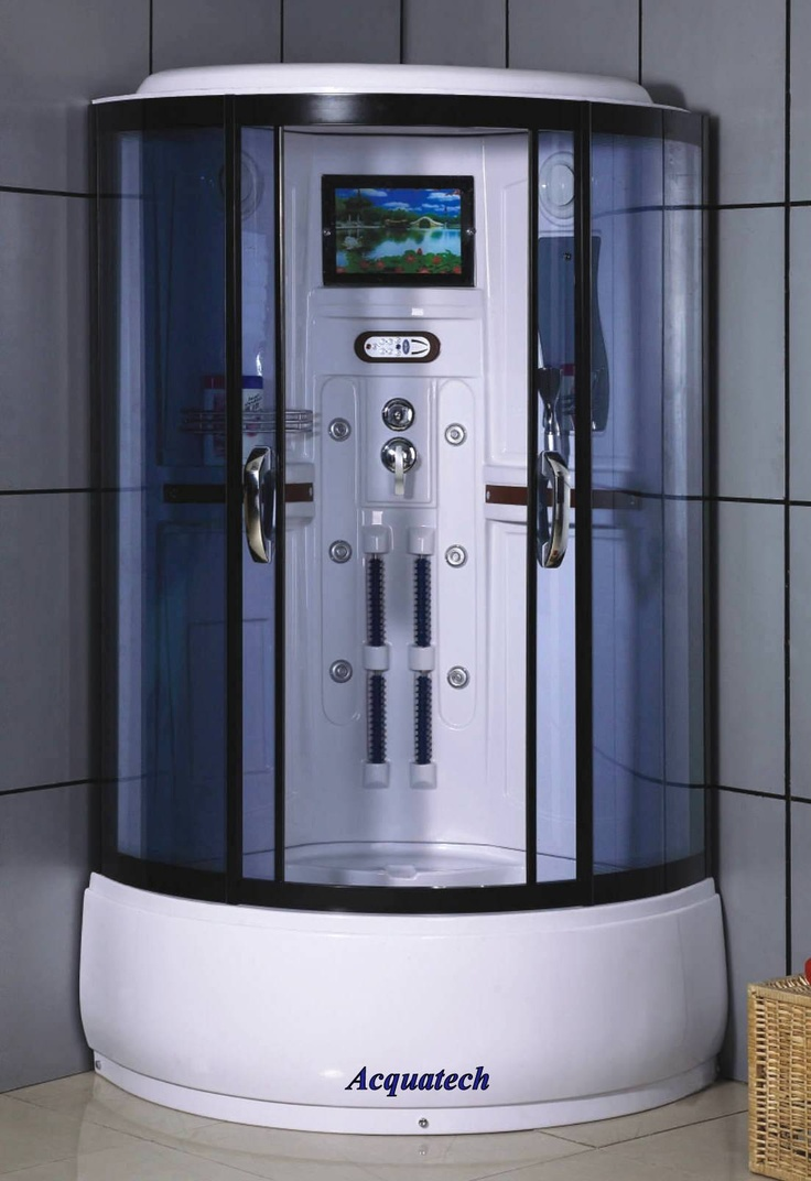 Virtu usa hazel 56 inch single sink bathroom vanity set free - Corner Shower Enclosure Room With Television Steam Massage 5023