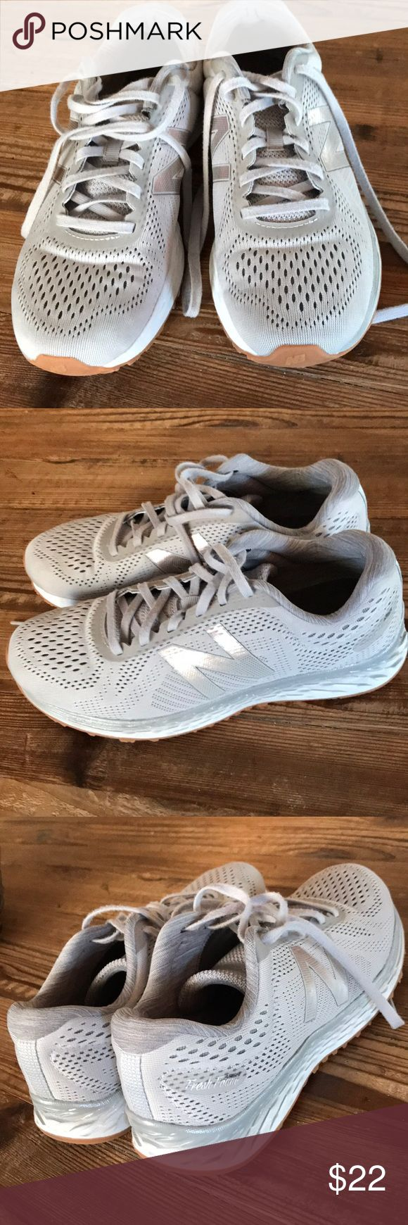 New Balance Sneakers New Balance Sneakers with fresh foam sole. Super comfy, light grey lace-up with silver New Balance logo. Machine washable. Freshly washed and in great used condition! New Balance Shoes Athletic Shoes