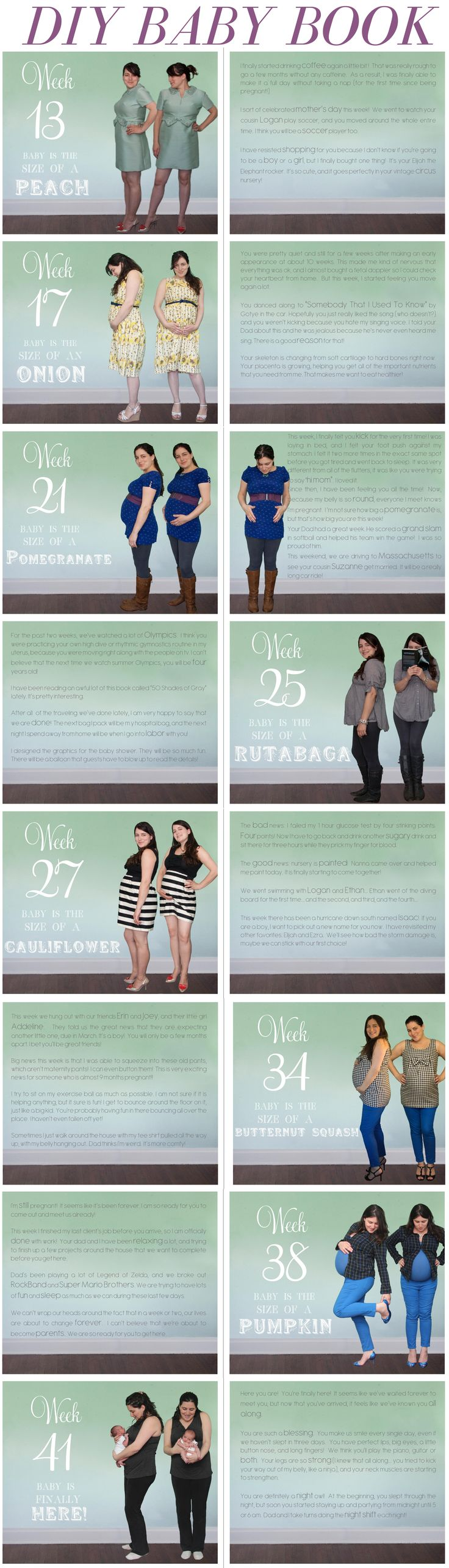 We staged weekly photos to show my progression as my belly grew.  I did some magic in photoshop, then created these pages in Blurb.  We ordered the finished book this week!