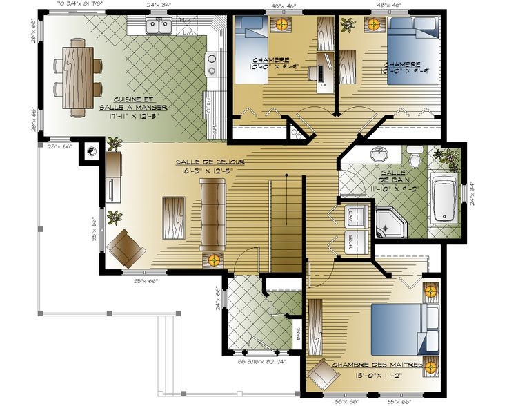 27 best plan images on Pinterest House blueprints, Little house - plan petite maison 70 m2