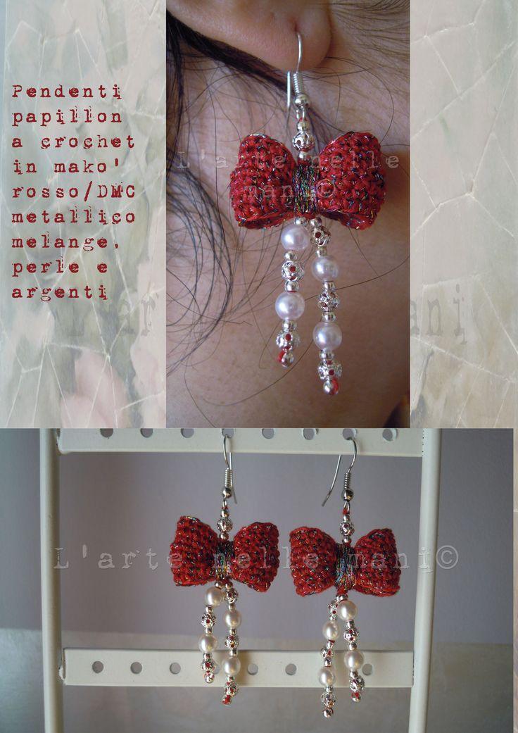 Orecchini papillons a crochet in makò rosso valentino/DMC metallico melange con perle in resina e in argento
