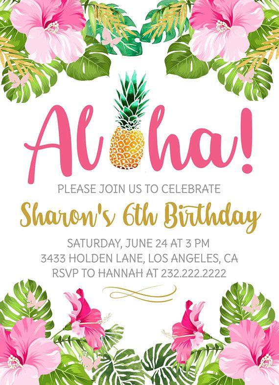 Aloha Birthday Party Invitation Hawaiian Luau Invite Pineapple Girl