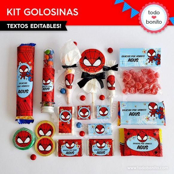 Hombre Araña: kit etiquetas de golosinas