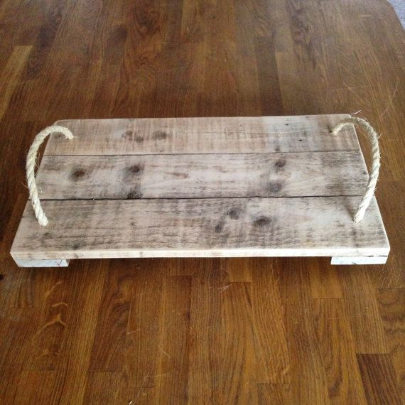 Rustic reclaimed wooden serving tray with jute by JBWoodDesign