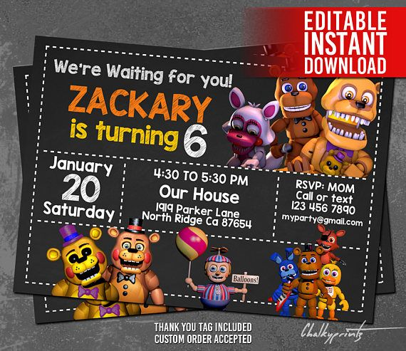 Super easy to download and edit yourself. Great directions, prints clearly, darling Five Nights at Freddy's invitation!