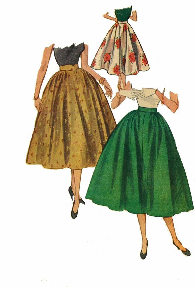 """Vintage 1950's Sewing Pattern Rockabilly Full Circle Skirt W 24"""" H 33"""""""