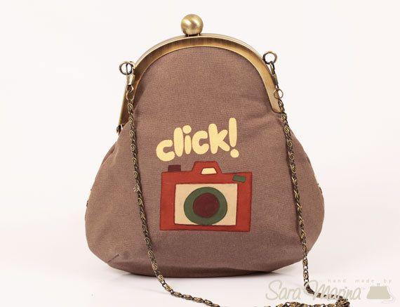 Handmade brown clutch purse round bag hand painted clutch brown camera design. via Etsy.