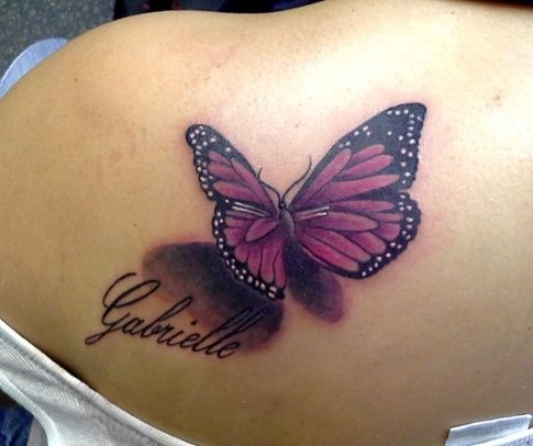 Beautiful Realistic Butterfly by A.R.T. Graduate Pete Doty. Click for more butterfly tattoo inspiration.