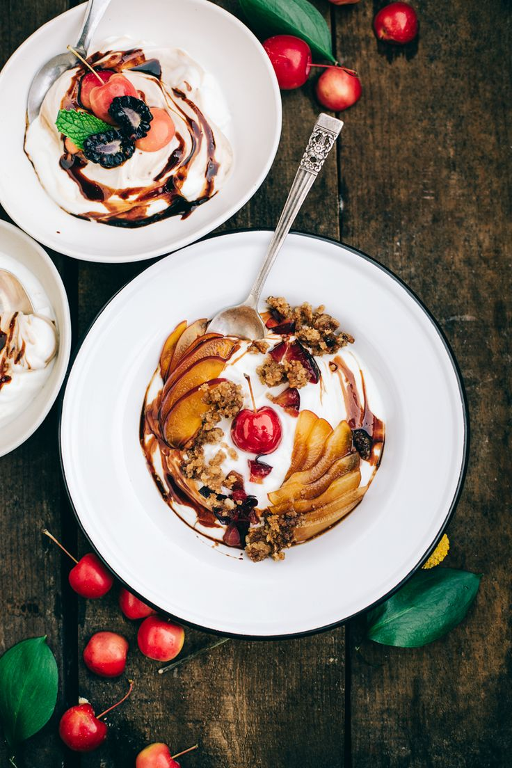 Whipped Frozen Yogurt with Plums, Baked Nut Crumble, and Red Wine Syrup (recipe)