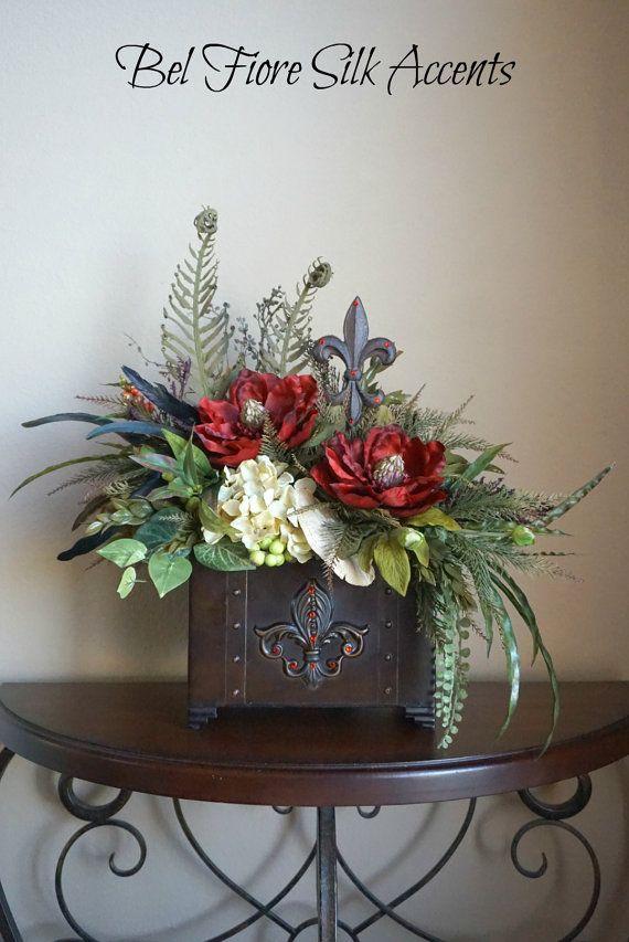 Tuscan Decor, Silk Flower Arrangement, Dining Table, Centerpiece with Red and Cream Fleur De Lei Metal Trunk Floral Arrangement