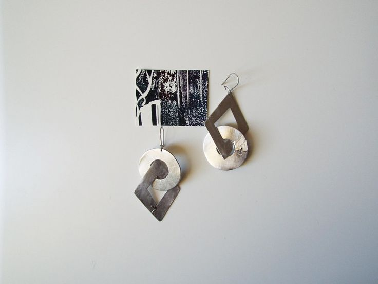 Pendenti - Orecchini geometrici rombo cerchio in alluminio - un prodotto unico di LaboratorioIndie su DaWanda
