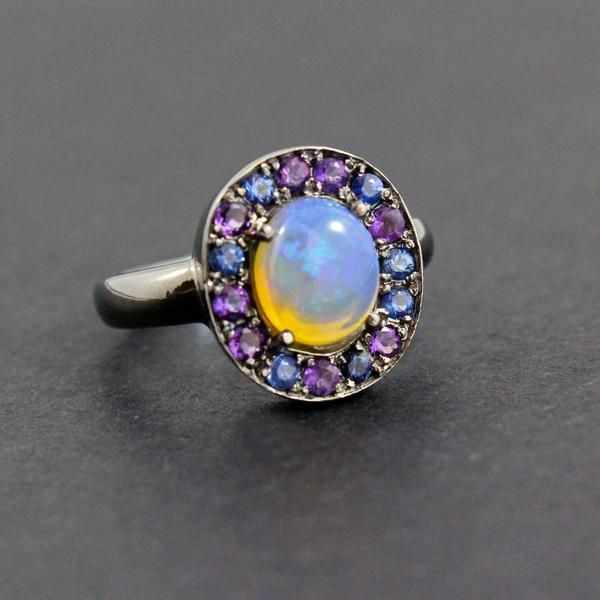 Australian jelly opal with amethyst and blue sapphire halo in oxidized