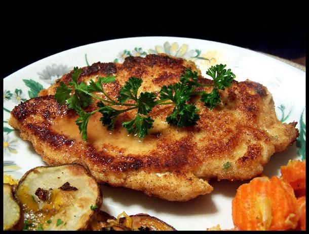 Chicken Schnitzel. Over 90 reviews gave this five stars on food.com. The difference is a bit of parmesan added to the breading, plus wine in the sauce.
