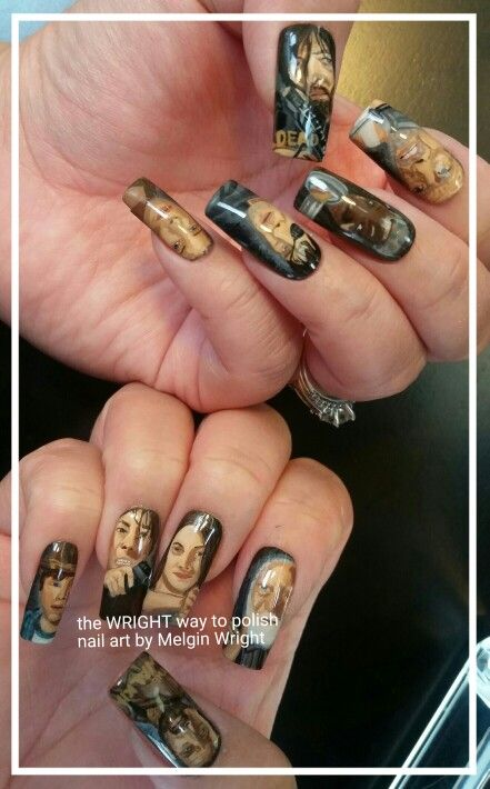 The Walking Dead nails! Hand painted nail art with nail polish and acrylic paint #twd #thewalkingdead #walkers #thewalkingdeadfanart