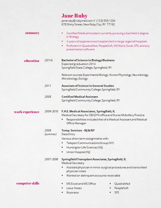 61 best Resumes images on Pinterest Resume, Sample resume and - associate degree resume