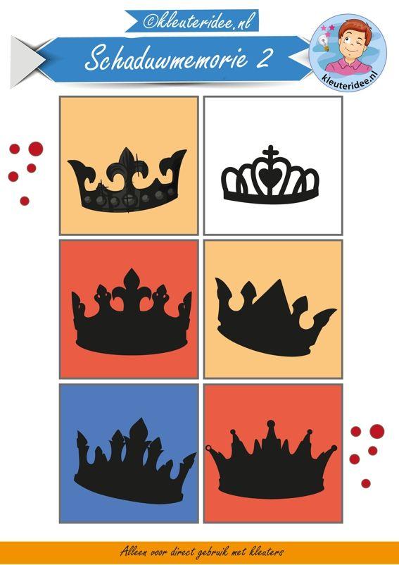 Schaduwmemorie bij thema koningsdag 2, kleuteridee,  Crownmemory free printable.